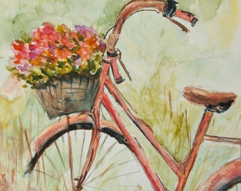 Red bicycle with flowers , Original watercolor painting with signed, size 21 x29.7 cm