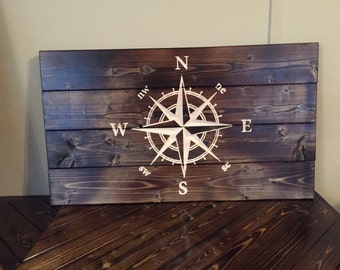 Carved Compass Rose Pallet Sign