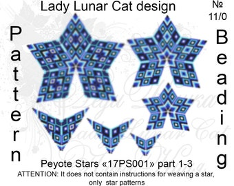 Blue patterns, Stars Peyote pattern, Space patterns, Sapphire pattern, Geometric patterns, Peyote stitch, Beading patterns, Beadwork pattern