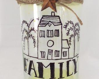 Glass Candle Holder, Cylinder Vase, Primitive Decor, Primitive Star with Saltbox House