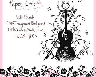 Violin Flourish PNG Clip Art Commercial Use Instant Download