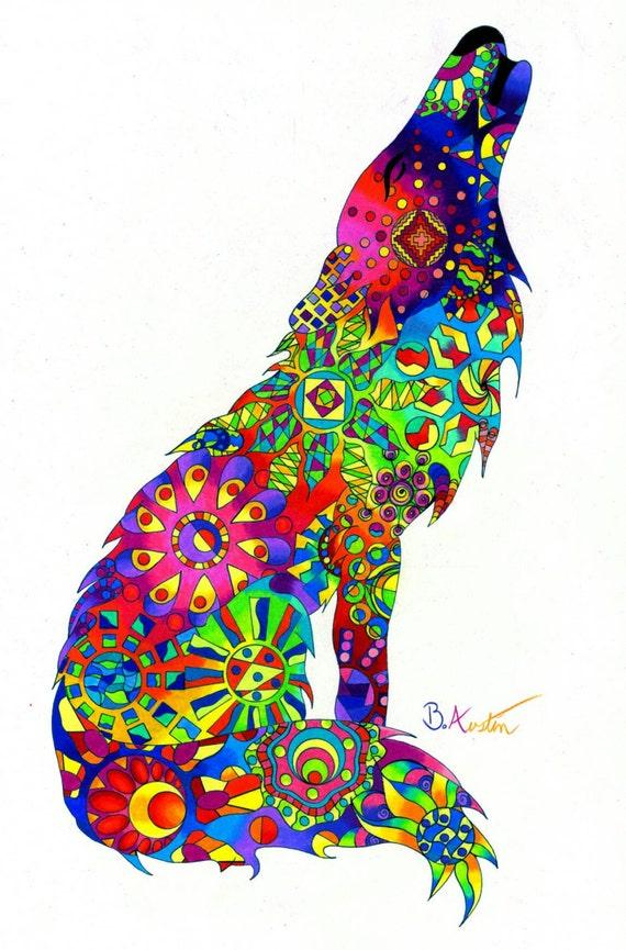 Wolf Art Print - Colorful Howling Wolf Wall Art