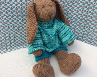 Hand knitted rabbit, knitted bunny, knitted bunny rabbit, bunny with clothes, rabbit with clothes