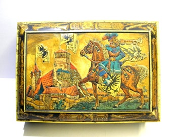 """Extra Large Tin Box 16""""X11""""X6"""", Germany Tin Container by E. OTTO SCHMIDT , Knight Horse Castle, Collectible Box, Cookie Art Tin Box BalMinDi"""