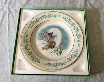Vintage 1975 Avon Gentle Moments Plate, Enoch Wedgwood Gold Trimmed Swan and Chick Decorative Plate