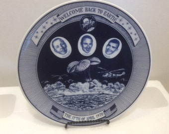 "Astronaut Plate ""Welcome back to Earth"" April 17th, 1970 Vintage"