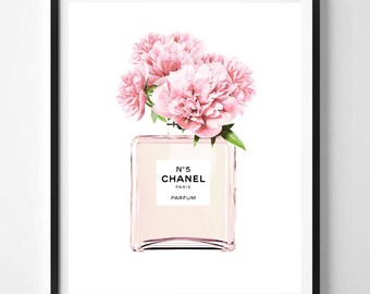 Chanel print, Modern print, Perfume bottle, Fashion art, Coco Chanel, Digital art, Pink, Mint, Printable art, Digital Instant Download 16x20