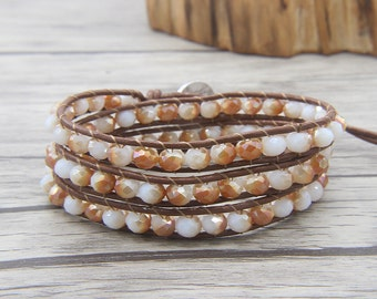 BOHO beaded bracelet Steel Yellow Crystal Wrap bracelet 3 rows wrap bracelet yoga bead bracelet gypsy wrap bracelet Bohemian jewelry SL-0484