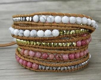 turquoise beads Bracelet Agate beads bracelet Waps Leather Bracelet Boho beads bracelet Pink Stone Bracelet White turquoise bracelet SL-0282