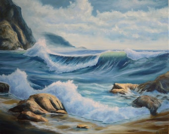 "16*20"" oil painting landscape ""Ocean"" beach seascape, sea and sky art, ocean art, realism, wall hanging, ocean wave, beach, coastal wall art"