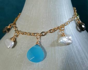 Charm bracelet, gold plated, blue Chalcedony, Smoky Quartz, green Peridot, Keshi pearls, handmade wirewrapped gemstones, Mother's day, boho