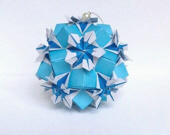Blue Flower Kusudama, Origami Flower Ball, Blue Kusudama, Blue Paper Flower, Origami Ornament, Flower Decor, Blue Decor, Origami Gift