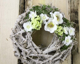Door wreath 'green - white elegance'