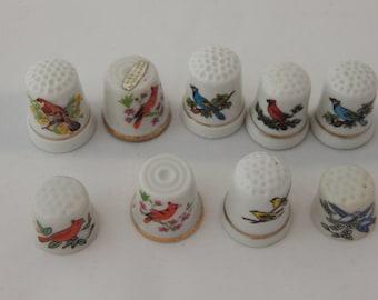 Vintage Porcelain Thimbles with Birds Set of Nine