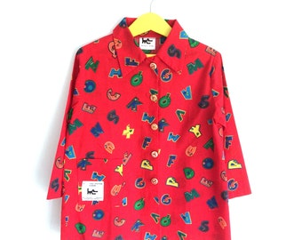 "Schoolboy red print apron ""alphabet"""