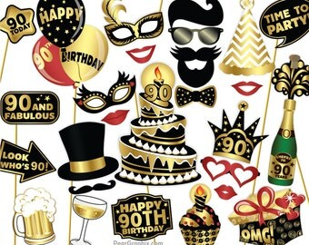 90th Birthday Photo Booth Props DIY / Ninetieth Birthday Party Photobooth Props / Colorful Black and Gold / Printable PDF ▷ Instant Download