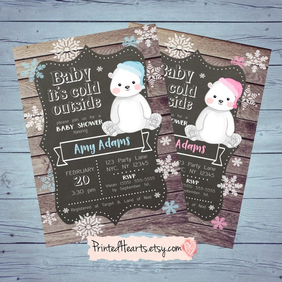 Baby It's Cold Outside. Winter Polar Bear Baby Shower