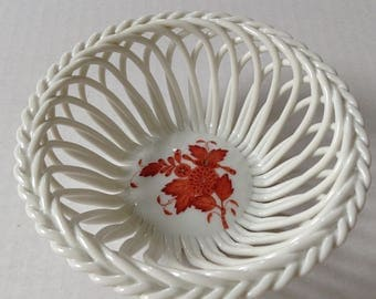 Herend Hungary Open Weave Chinese Bouquet Basket