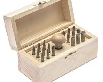 Bezel Setting Tools Punch Set With 18 Punches In Wood Box Sizes 0.75mm TO 7.75mm (13E)