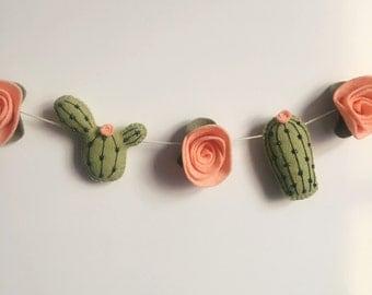 Cactus Garland, Felt Cactus, Felt Garland, Felt cactus, felt succulent, cactus, felt flowers