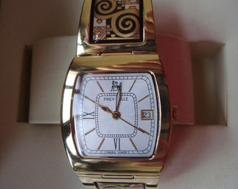 M. FREY WILLE WATCH Gustave Klimt Collection Adele Bloch-Bauer 24 kt Gold Plated Enamel with Original Box