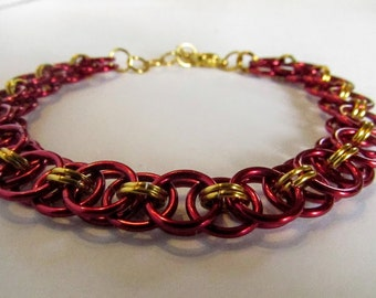 Red and Gold Bracelet Helm's Weave