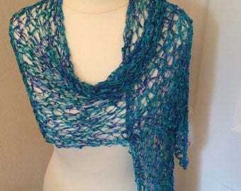Handmade by Mrs Smith Silky Turquoise & Blue Wrap /Scarf
