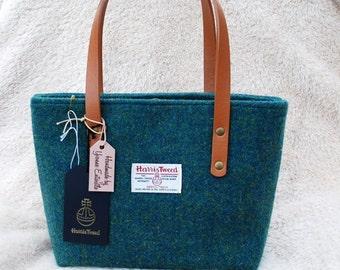 Harris Tweed Tote Handbag emerald green