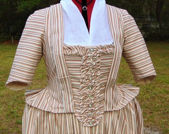 CLEARANCE 18th century Pet-en-l'air, or Robe Francaise, Jacket and Petticoat. 100% Cotton, hand stitched.