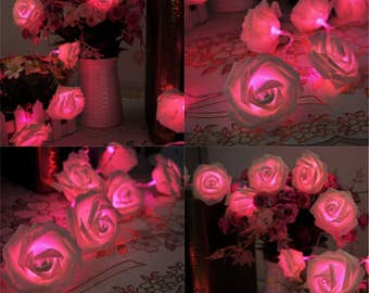 pink rose flower fairy string lights 20 leds 22m722feet wedding - Flower Christmas Lights