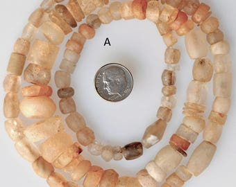 28 Inch Strand of Old Excavated Rock Crystal Beads - African Trade Beads