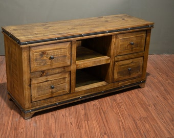 rustic style solid wood tv stand media console with four drawers