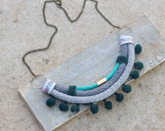 Bohemian Necklace, Grey Necklace, Pom Pom, Soft  Necklace, Tribal Necklace, Fashion Necklace, Natural Statement Necklace, Necklace For Wife
