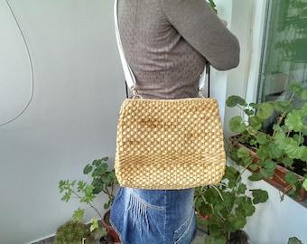 Vintage Knitted Bag of Straw, Old Italian Shoulder Bag, Lady Straw Bag, Gift Idea