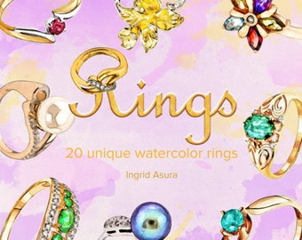20 Watercolor Clip Art Rings | Gold Silver Gemstone | Wedding Engagement Scrapbook | Digital Graphics |Hand Painted Images