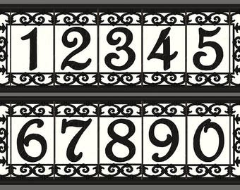 Iron Scroll House Numbers Ceramic Address Tiles Framed Set -Spanish Iron Scroll Design