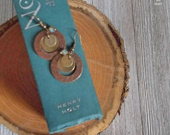 Hammered Metal Trio Earrings with Small Jeweled Sage Bead - Antique Gold and Copper Dangle and Drop Earrings