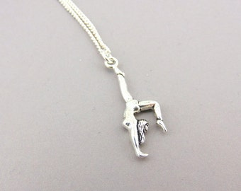 Gymnast Necklace, Gymnastic Pendent, Sporty Charm Necklace, Sterling Silver Necklace, Trendy Necklace. gifts for her