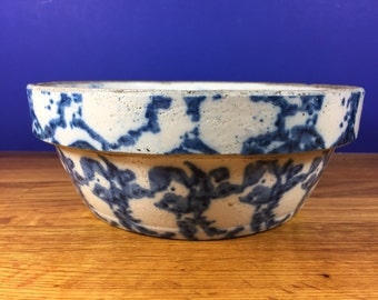 Blue Spongeware Baking Bowl