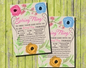 Spring Fling Invitation, Spring Festival Invitation, Spring Fundraiser Invitation, School Fundraiser Invitation, Spring Flowers Invitation
