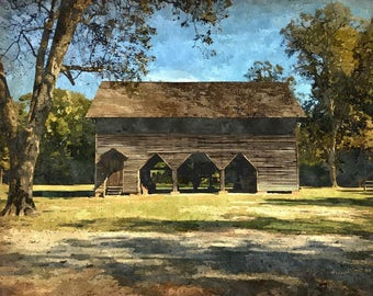 Fine Art Print of Log Barn and Cotton Gin, Laurinburg, North Carolina in Watercolor Rendering