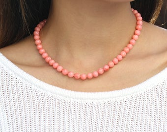 Beaded Coral Necklace, Genuine Natural Salmon Pink Coral, Pastel Pink Jewelry, Vintage Inspired Gift, 925 Sterling Silver, Magnetic Clasp
