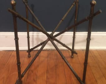 Vintage Metal Faux Bamboo End Table Base
