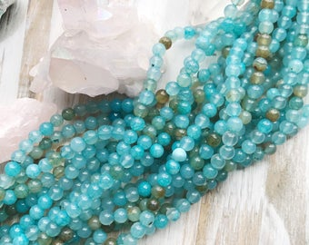 6mm Sea Blue Cracked Agate Beads Round Smooth Gemstones Beading Supply Blue Beads Light Blue Beads