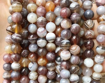 8mm Botswana Agate, Round Beads, Natural Gemstone, Yoga Jewelry Supply, Multicolor Agate, Pink Gray Agate, Mala Beads