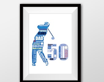 Golfer artwork, golfing present, golfer gift, ideal for 50th, 60th, 64 birthday