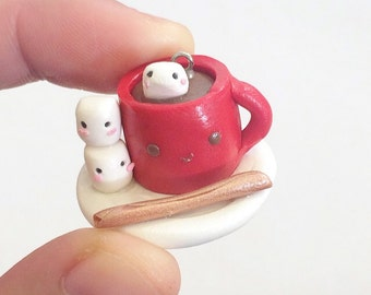 Hot Chocolate and Marshmallows Clay Charm