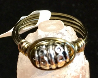 Wire wrapped Tibetan silver bead ring