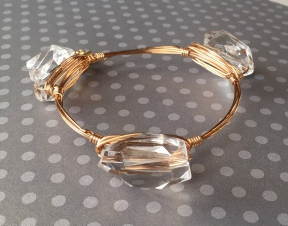 Clear bangle bracelet, Faceted nugget bangle, wire wrapped bangle, bridesmaid gift, bridal jewelry, 3 stone bangle