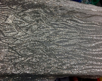 "NEW Silver Flames Sequin No-Stretch on Mesh, 60"" inch, sold by the yard"